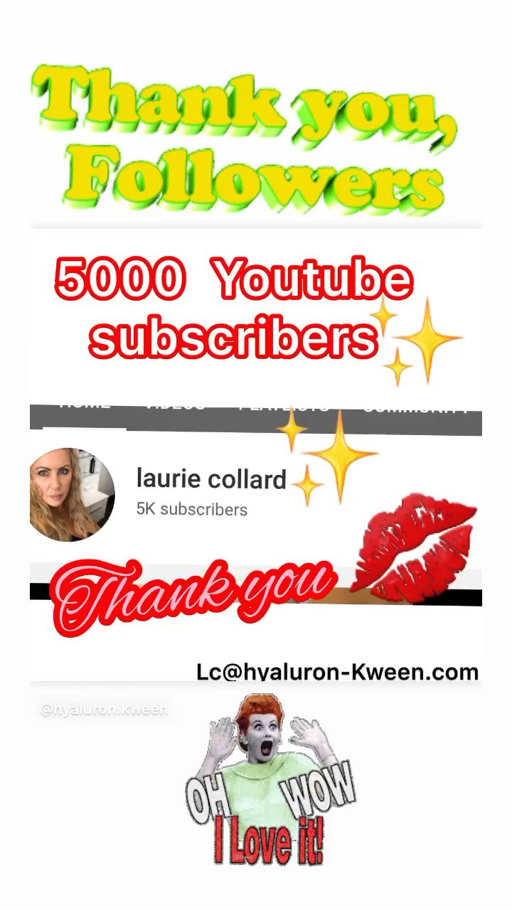 5000 Youtube subscribers❗️❗️❗️❗️ #thankyou#followers#followme#subscribe#youtube#LaurieCollard#hyaluronkween#hyaluronicacid#hyaluron#hyaluronlips#beautybloggers#facial#liquidfacelift#video#questionsanswered#askmehow