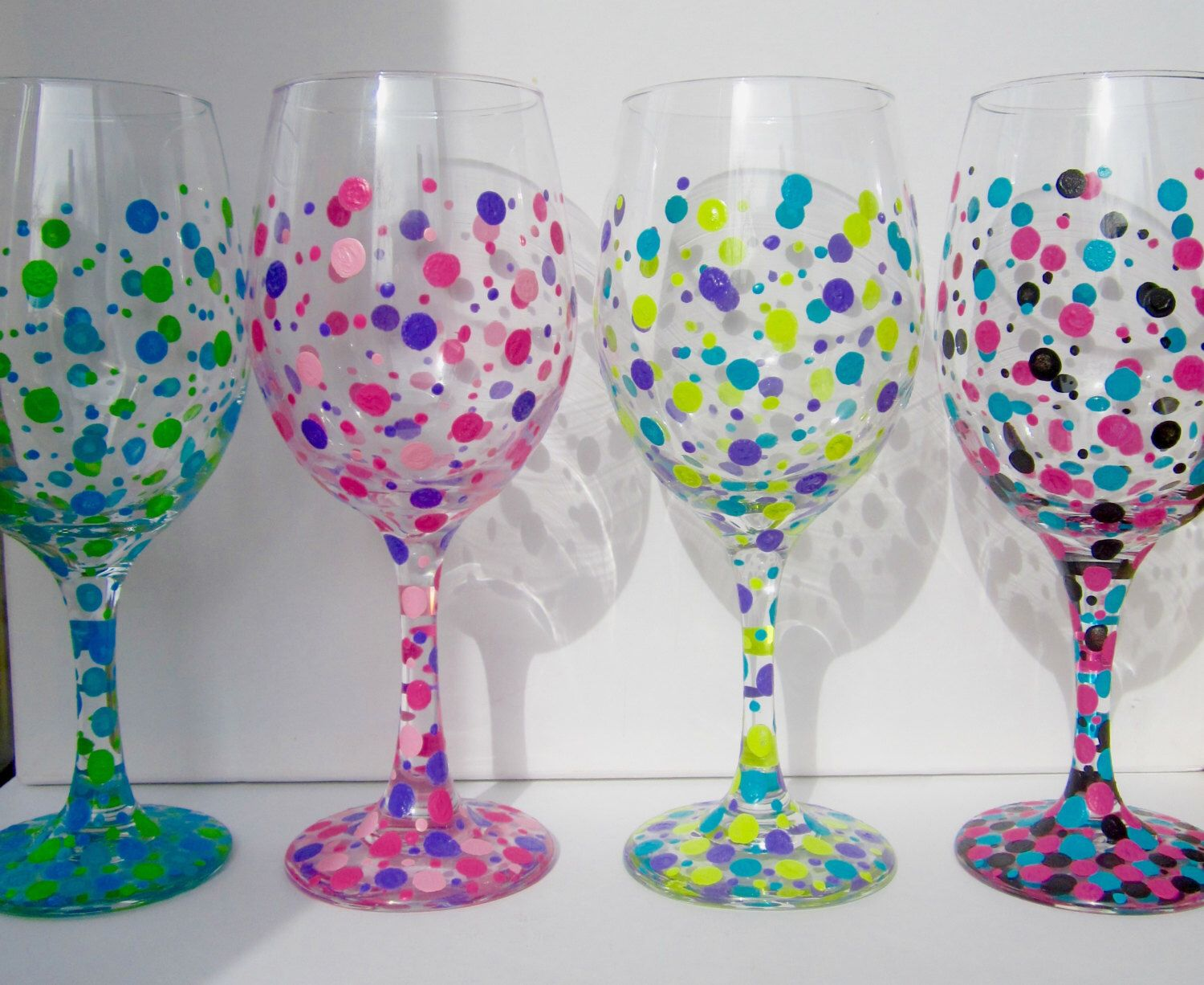 Four hand painted wine glasses polka dot wine glasses Images of painted wine glasses