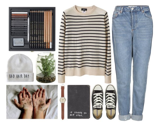 """""""'Love is what makes you smile when you're tired.'"""" by crunchypeanutbutter ❤ liked on Polyvore featuring A.P.C., Topshop, Converse and J.Crew"""