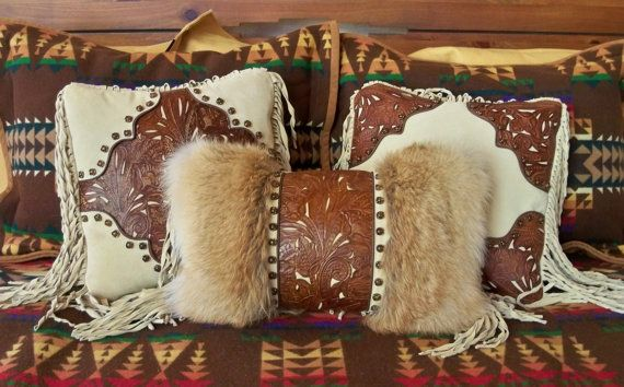 Western Art Pillow Vintage Style Tan Tooled Leather Coyote Fur Cowboy Boot Design Conchos