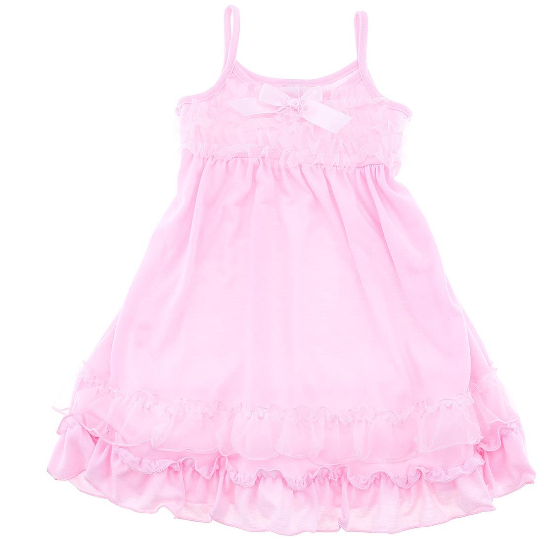 Laura Dare Little Girls Yellow Pink Floral Print Ruffle Trim Nightgown 2T-6X