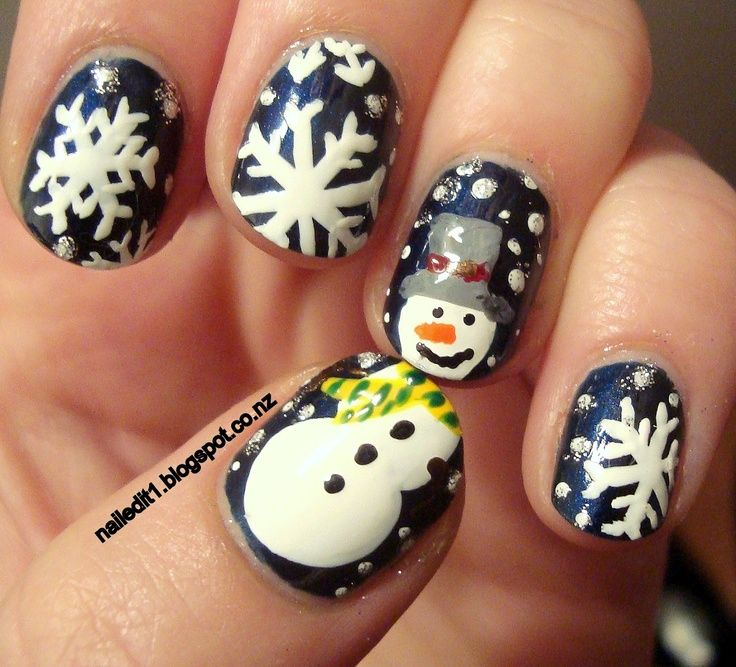 Snowman/Snowflake Nails - Winter Christmas Nail Art Holiday\u0027s