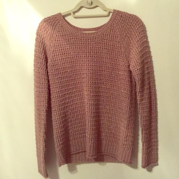 Gap rose gold knot sweater Gap rose gold sweater (tan/pink thread with gold flecks of sparkle). Acrylic/wool/poly blend. Worn but in great condition. Has some pilling. GAP Sweaters Crew & Scoop Necks