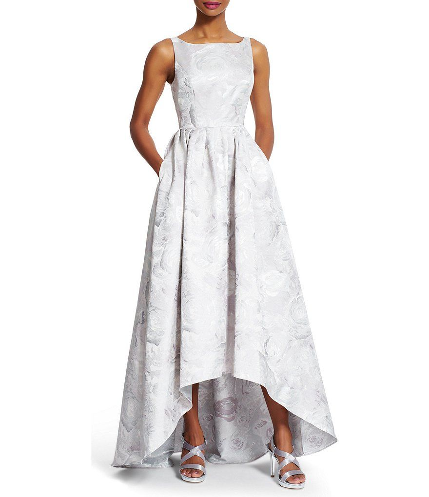Silver:Adrianna Papell Sleeveless Jacquard Hi-Low Gown Silver. Sale ...