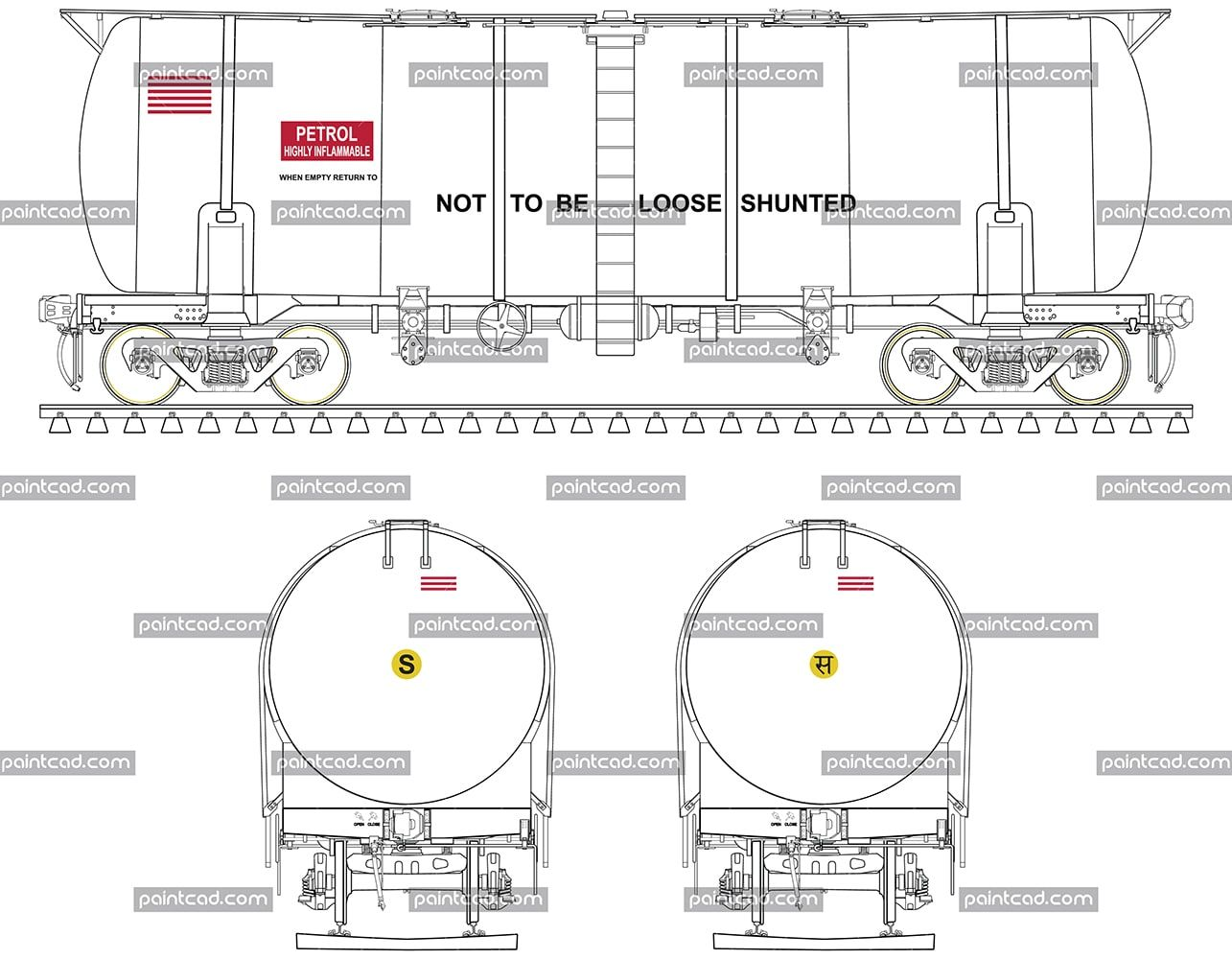 Drawing Of Btfln Tank Wagon For Transport Of Petrol
