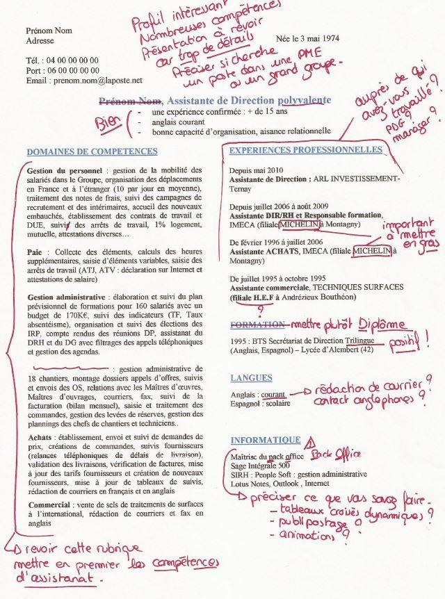 CV assistante de direction Resume tips, Resume tips no
