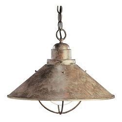 BUILDER - BUILDER Seaside Transitional Pendant Light X-BO3172 - Textured with Olde Brick, this transitional pendant light is a nautical dream. Ideal for damp locations, this pendant by Kichler Lighting will look ideal in any design you choose.