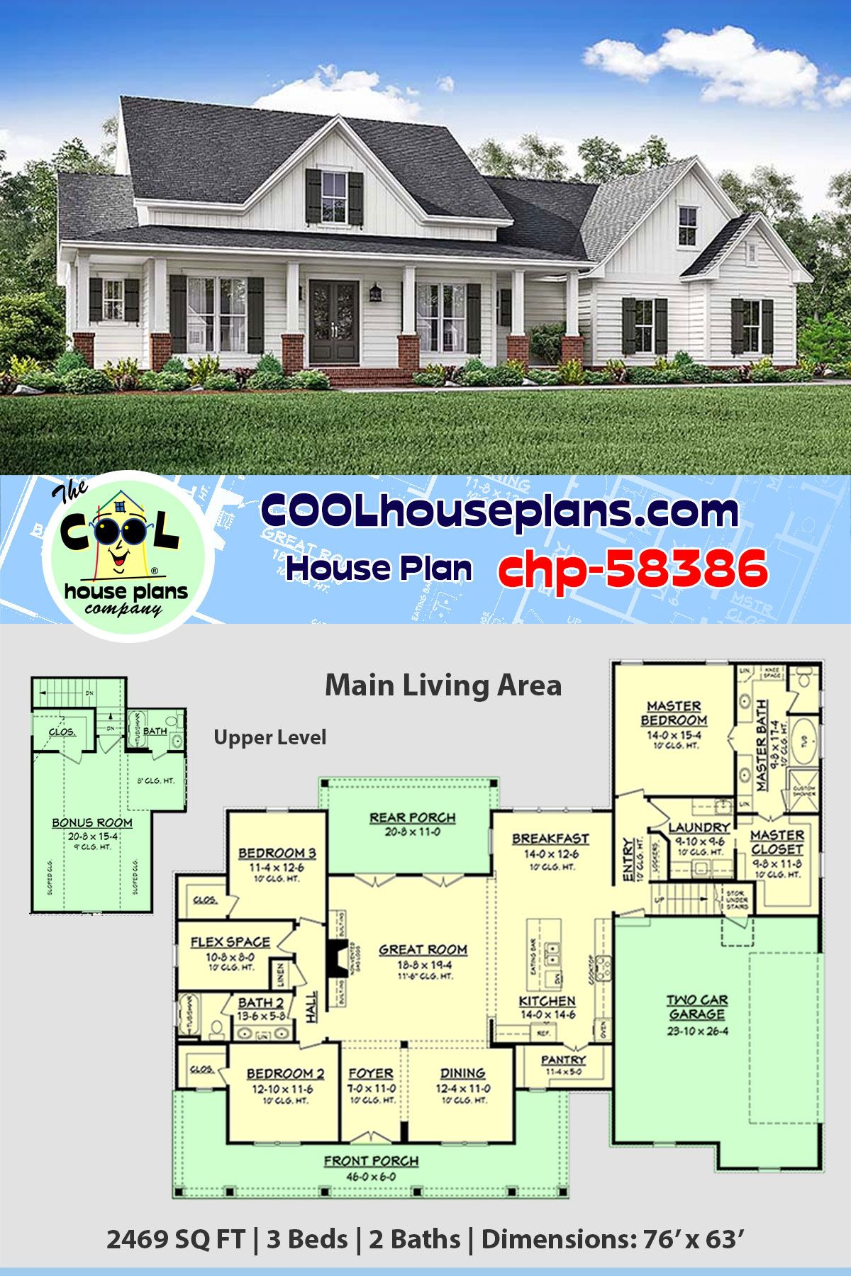 House Plan Chp 58386 Country House Plans Best House Plans New House Plans