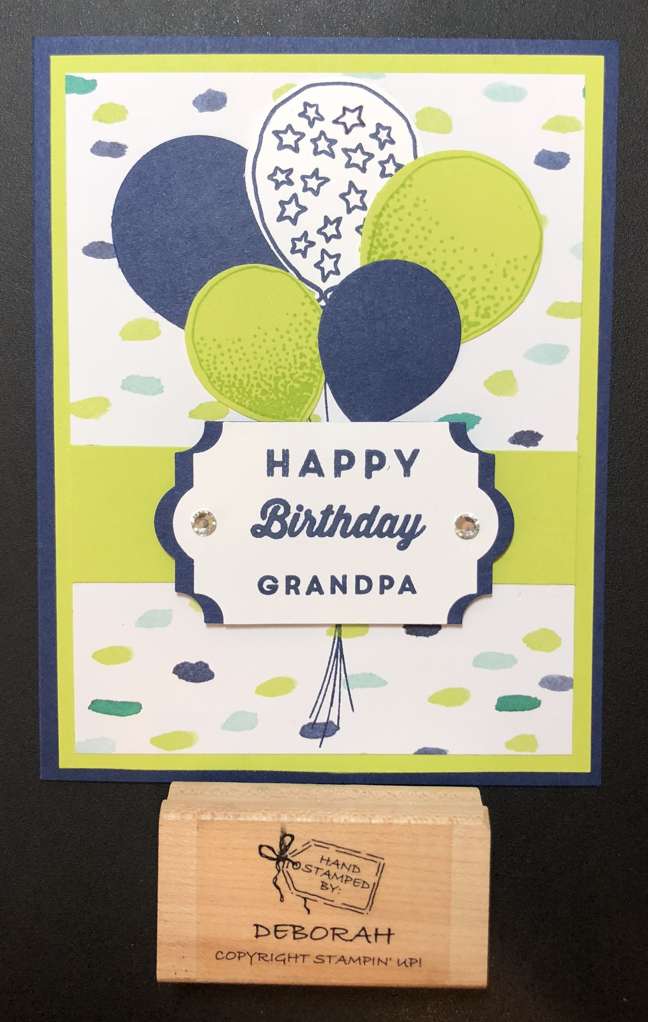 A birthday card for grandpa using balloon celebration and manly
