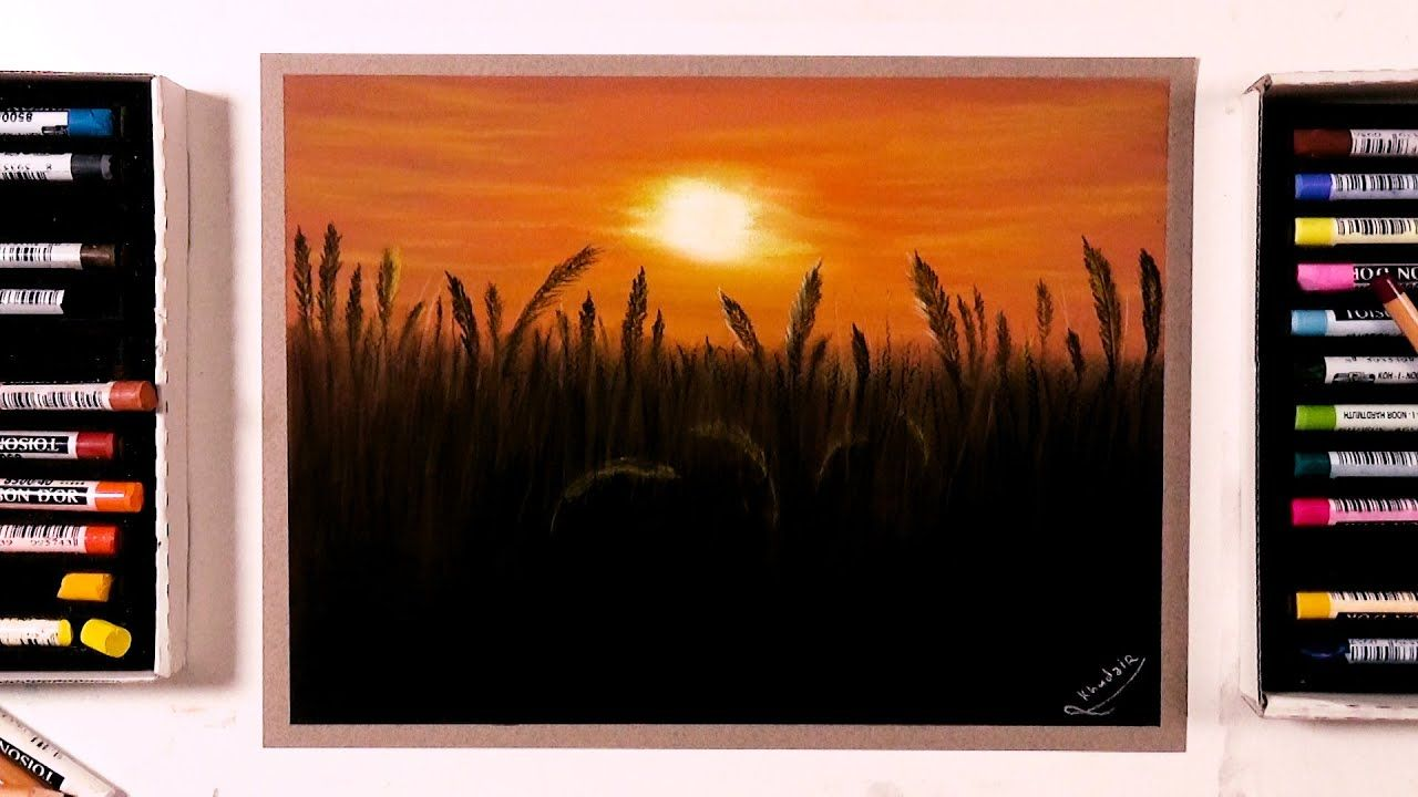 Beautiful Sunset Drawing Over The Wheat Field Soft Pastel Drawing Soft Pastels Drawing Pastel Drawing Soft Pastel
