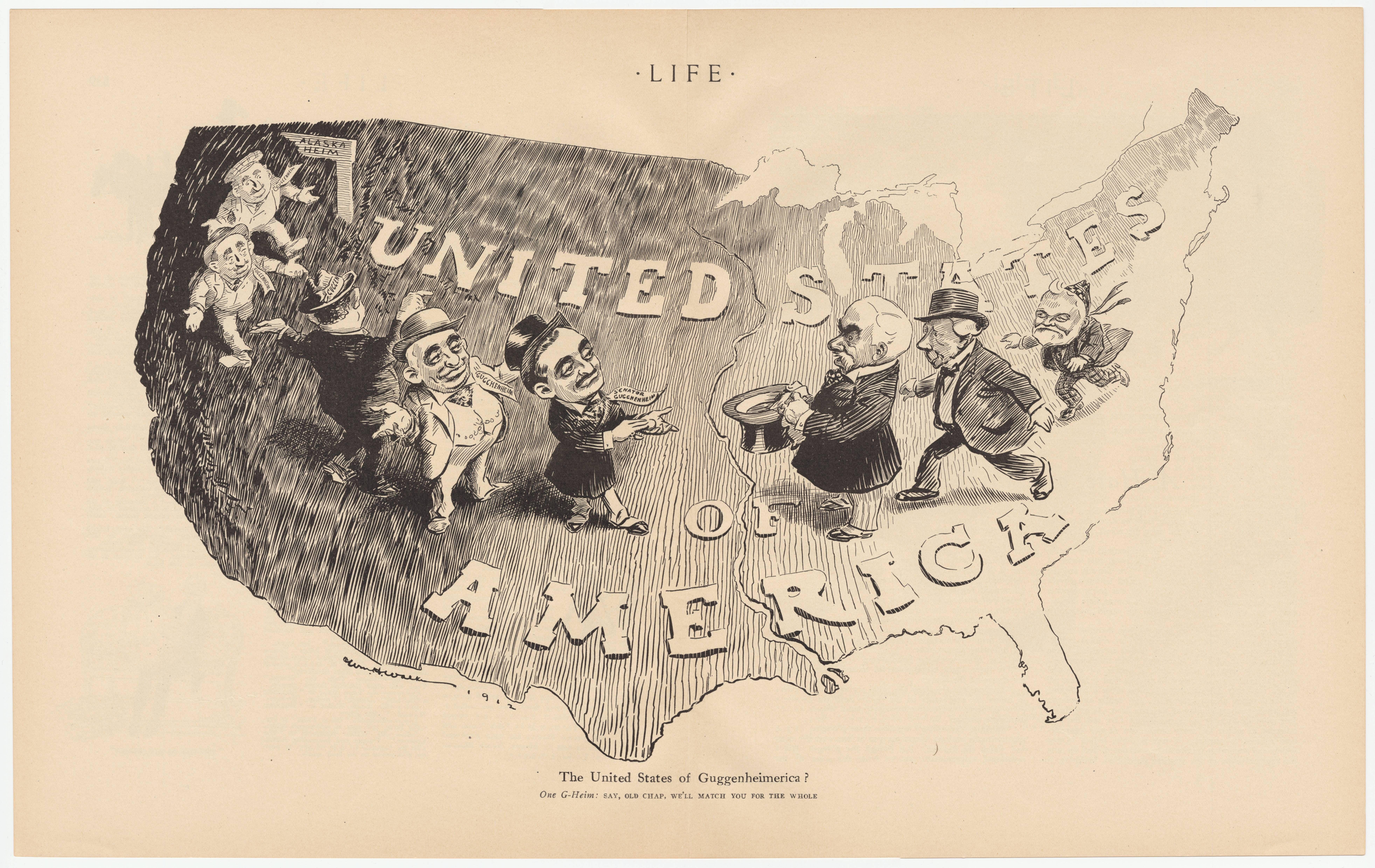 Map Of Us Cartoon US cartoon, Guggenheim 1909 mining affair #map #usa   Map