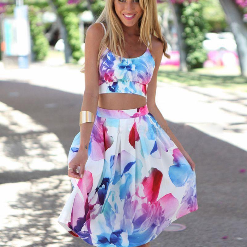 0e58a1998f1d3 Women s Floral Summer Beach Strappy Crop Top +Midi Skirt 2 Pcs Sets Party  Dress