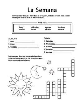 la semana spanish days of the week crossword worksheet worksheets spanish and students. Black Bedroom Furniture Sets. Home Design Ideas