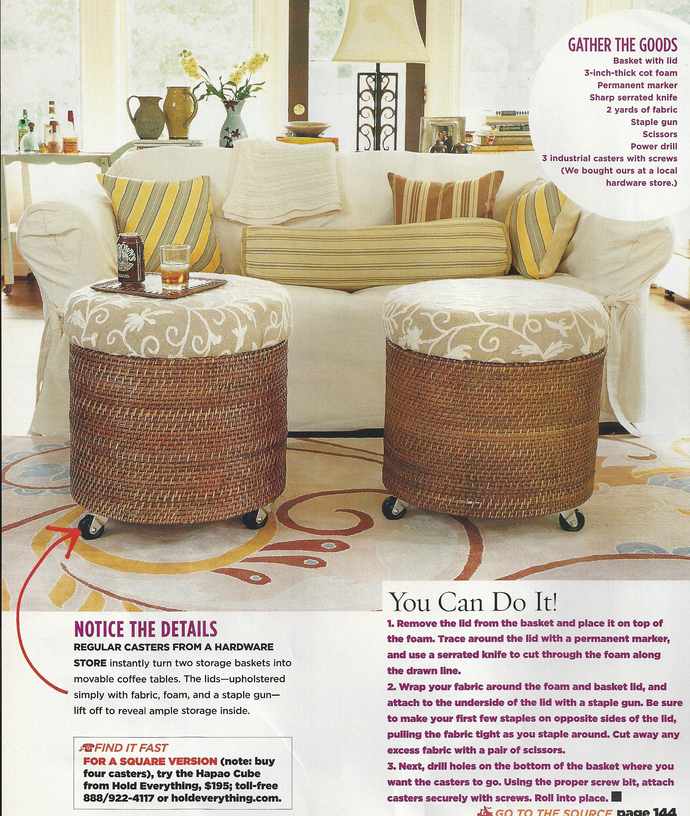 Exceptional Rolling Coffee Table Foot Stools From Baskets  DIY Nice Ideas
