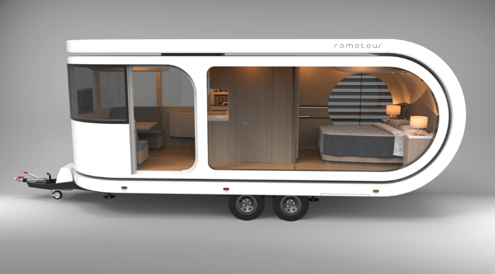 Otherworldly Romotow Rotating Caravan Finds Its Way To This World Caravan Vintage Campers Trailers Camper Caravan