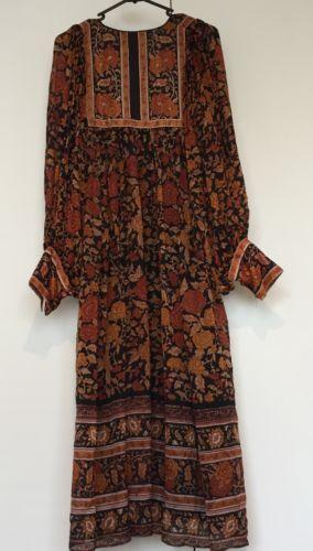 Rare-Genuine-70S-Vintage-Ritu-Kumar-Myriad-JUDITH-ANN-Silk-Dress-Boho