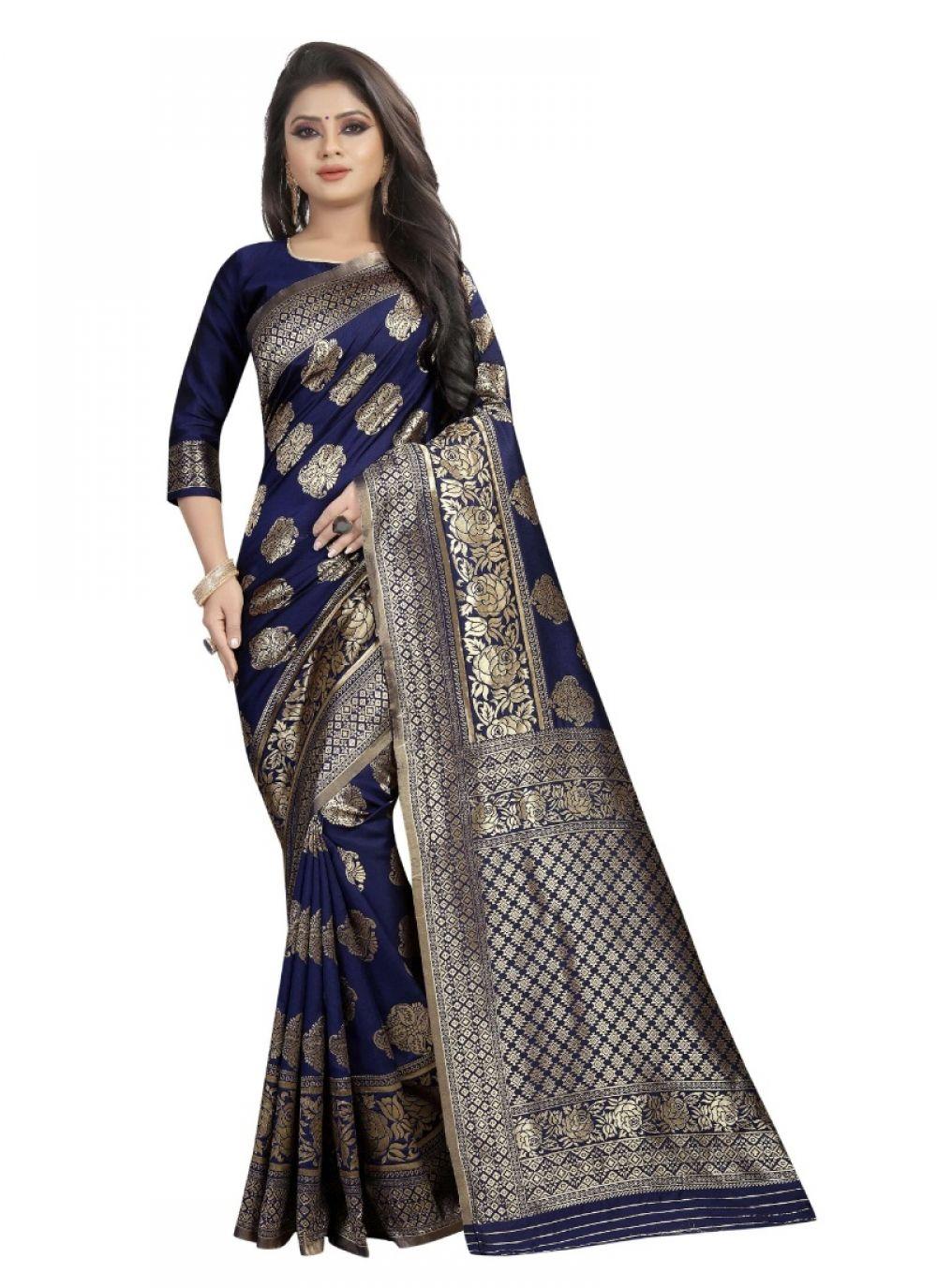 Generic Women's Kota Banarasi Silk Saree with Blouse (NavyBlue,5-6 mtrs)  Price: 954 & FREE Shipping  #hashtag3