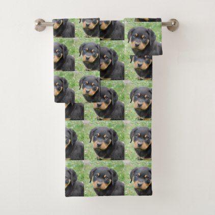 Rottweiler Puppy Bath Towel Set Home Gifts Ideas Decor Special