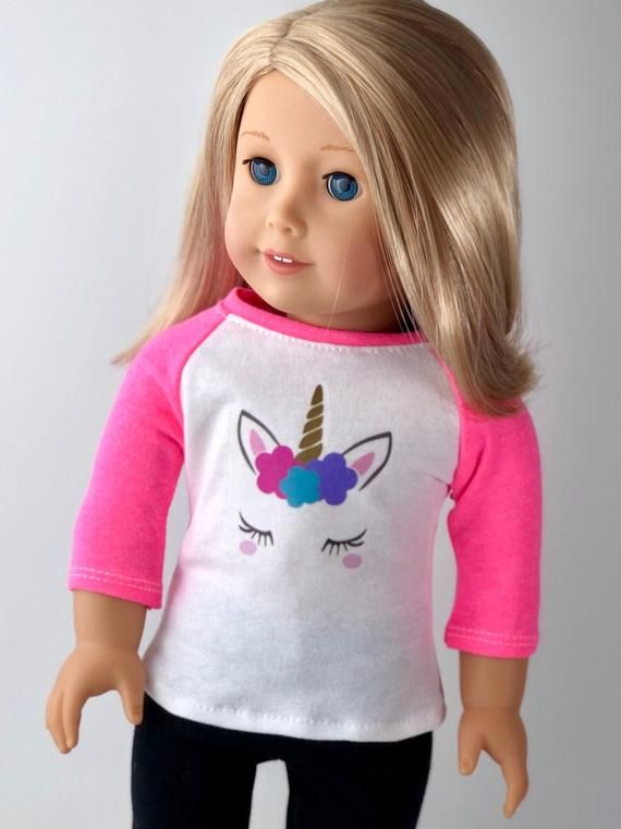 18 Inch Doll Clothes | Unicorn Graphic 3/4 Pink Sleeve BASEBALL TEE for 18 Doll American Made #18inchdollsandclothes
