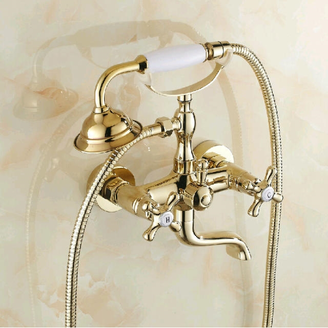 ... Directly From China Faucet Pictures Suppliers: Good Quality Solid Brass  Luxury Rainfall Golden Shower Bath Set Faucets Wall Mounted Shower Mixer  Faucets
