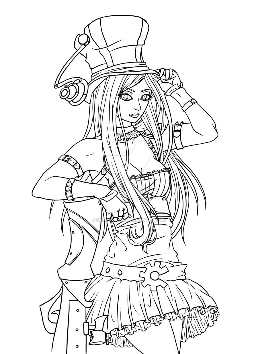 League Of Legends Caitlyn By Fallingillusion Deviantart Com On Deviantart Steampunk Coloring League Of Legends Snow White Coloring Pages