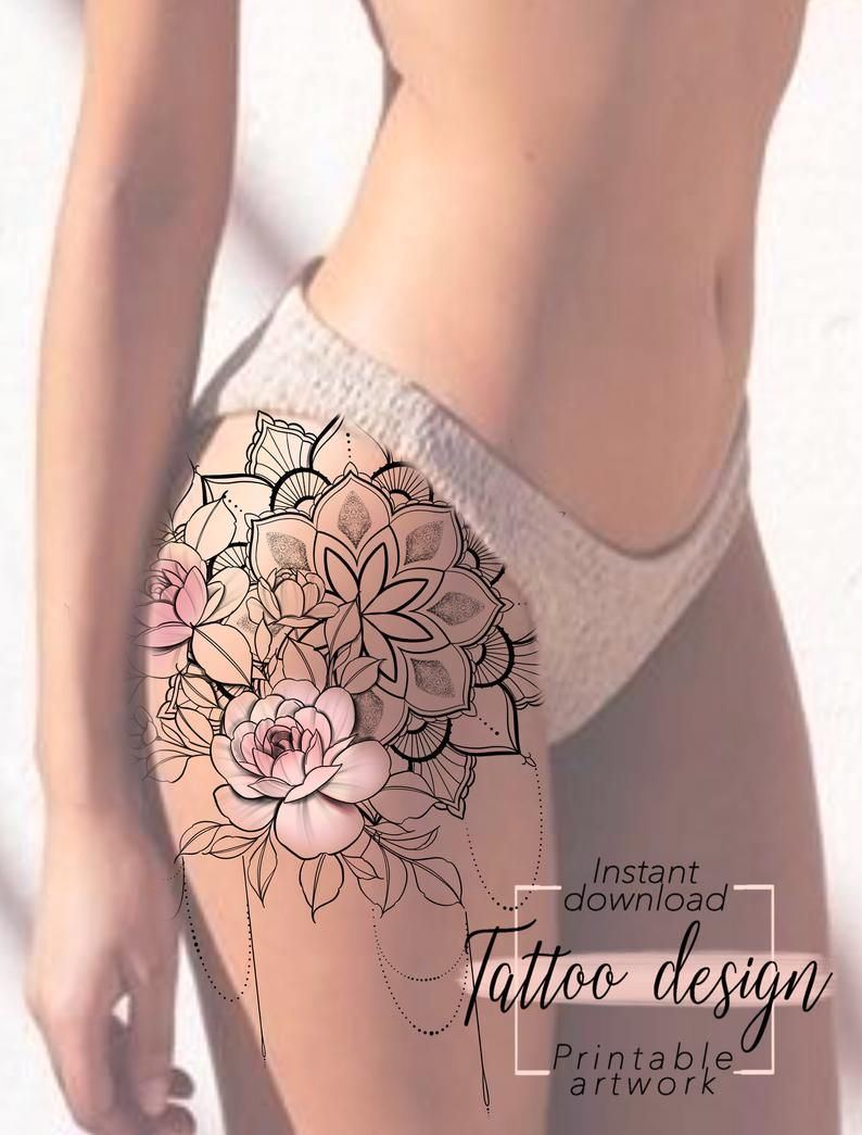 Photo of Pink Mandala Tattoo Design Design digital female floral pattern to print, tattoo for hip thigh or back, unique woman tattoo art
