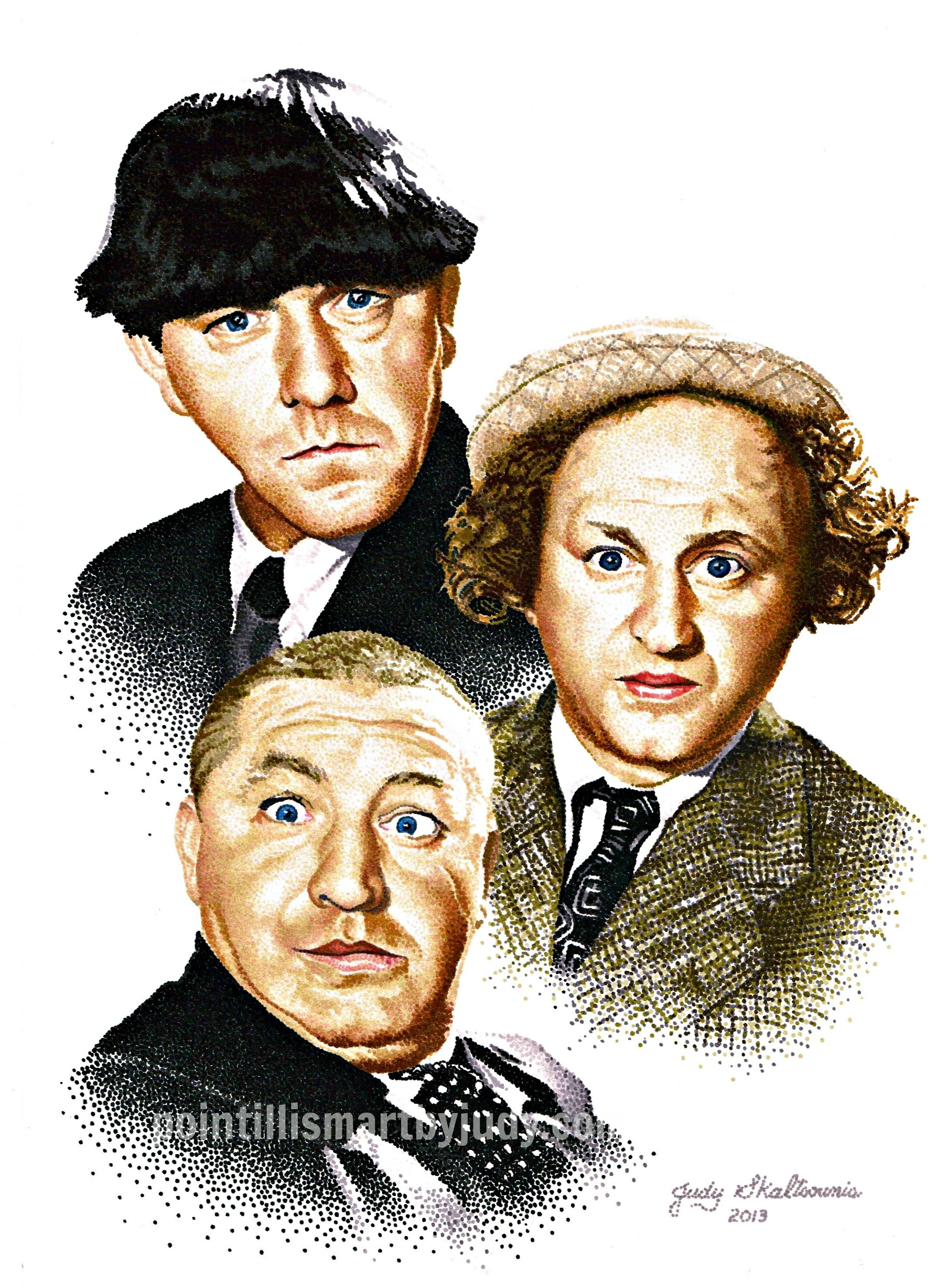 The Three Stooges In Pointillism Http Etsy Me 11gcnsr Pointillism Art Threestooges The Three Stooges Classic Comedies Funny Caricatures