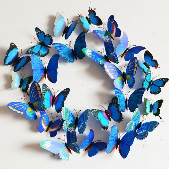 3d Vlinders Assorti Blauw Vlinder Kunst Muurstickers Vlinders