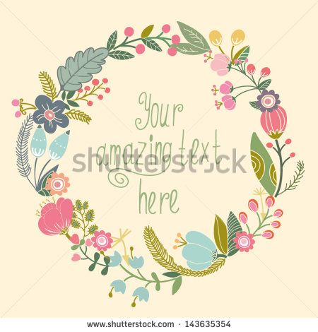 Beautiful greeting card with floral wreath bright illustration can beautiful greeting card with floral wreath bright illustration can be used as creating card stopboris Gallery
