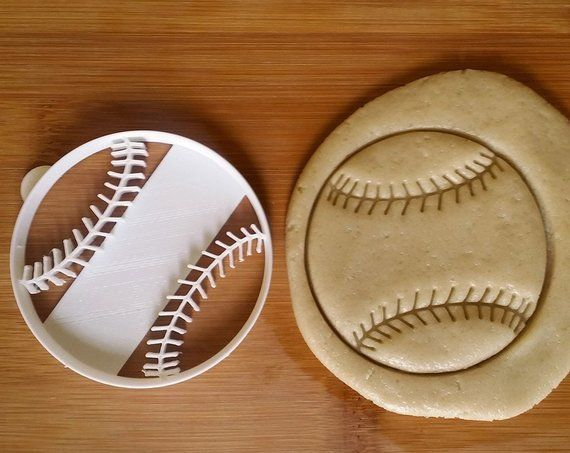 Baseball Softball Cookie Cutter and stamp combo birthday gift fundraiser bake sale tee is part of Softball cookies - This baseball (or softball) cookie cutter stamps and cuts in one press! Includes a tab on the side to help lift it  This would be perfect for a team party, fundraiser bake sale, or sports themed birthday party   This cookie cutter is a 3 inch circle   If you would like custom text included on this
