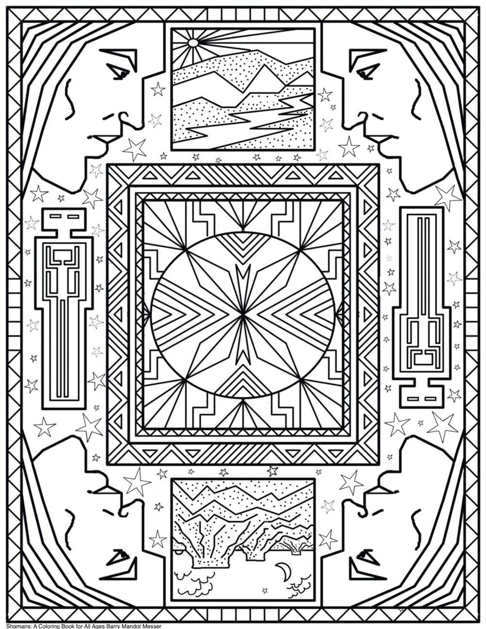 Shamans coloring book by barry mandot messer free coloring page for