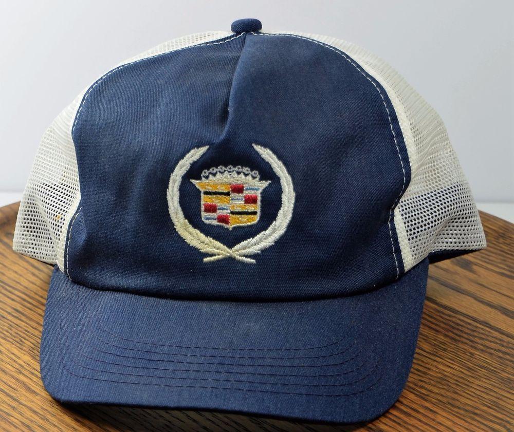 Cadillac Hat Snapback Cap Adjustable Mesh Trucker Vintage Blue White   AmericasLegend  BaseballCap 40f3bdc0c482
