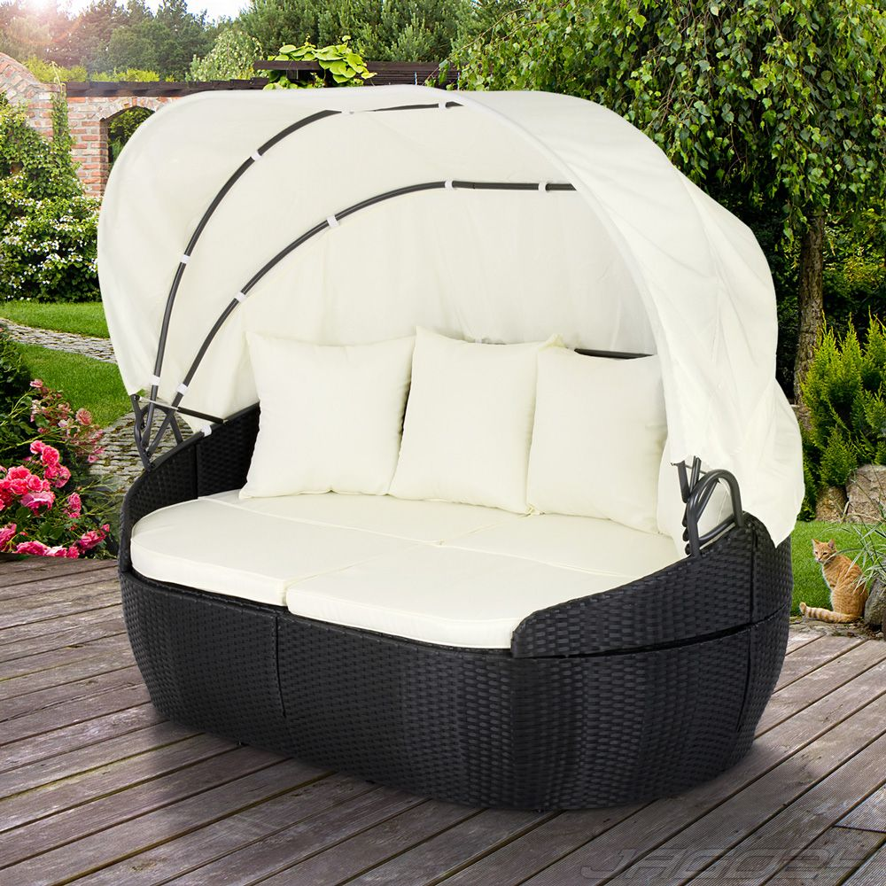 gartenm bel sonneninsel polyrattan sonnenliege gartenliege polyrattanm bel terrasse. Black Bedroom Furniture Sets. Home Design Ideas