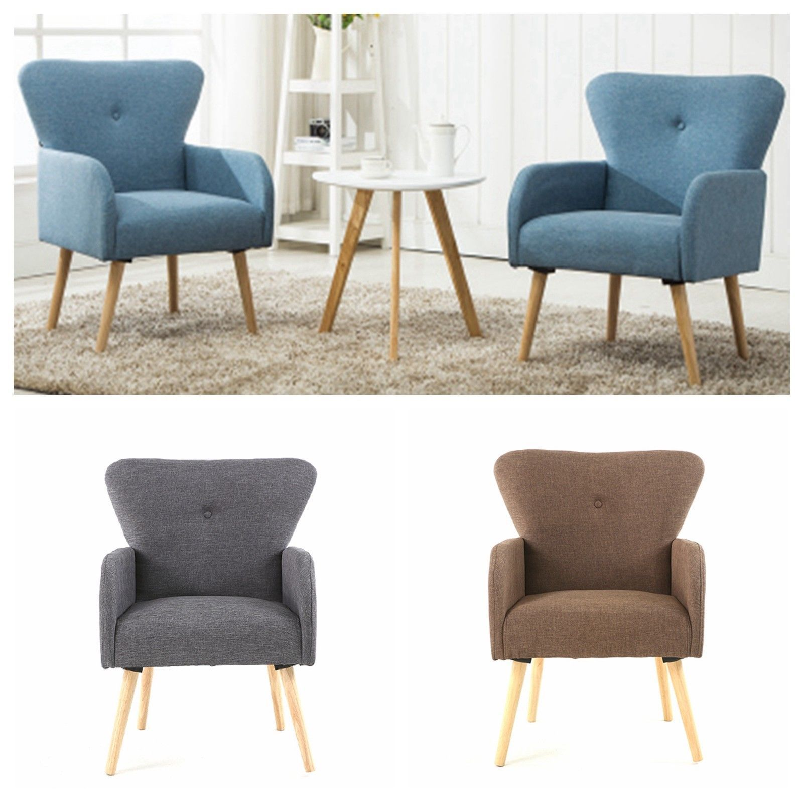 Best Caroline Design 2 Piece Upholstered Accent Club Chair 400 x 300
