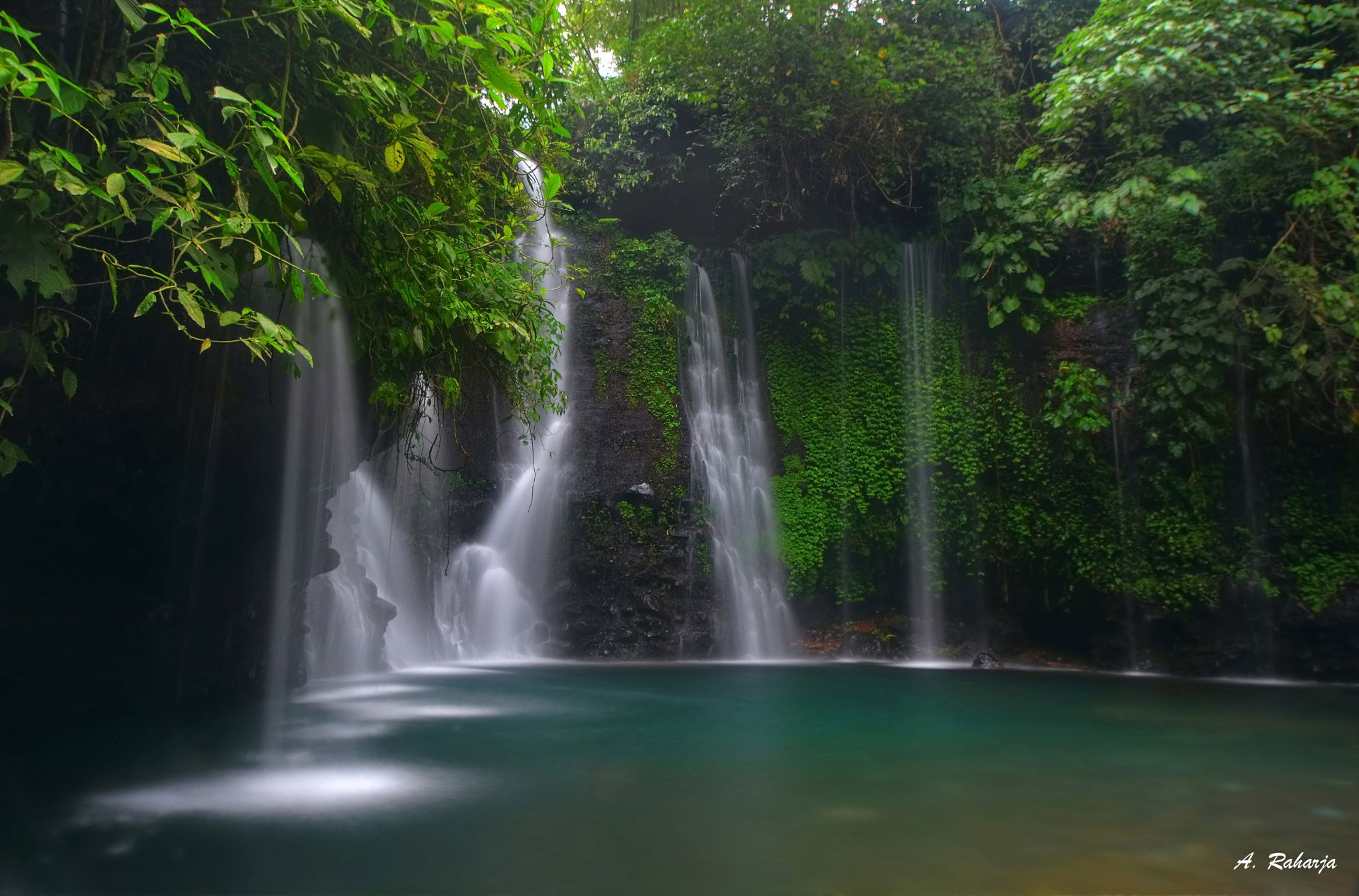 Fall 57 blue water from si bedil waterfall in pemalang