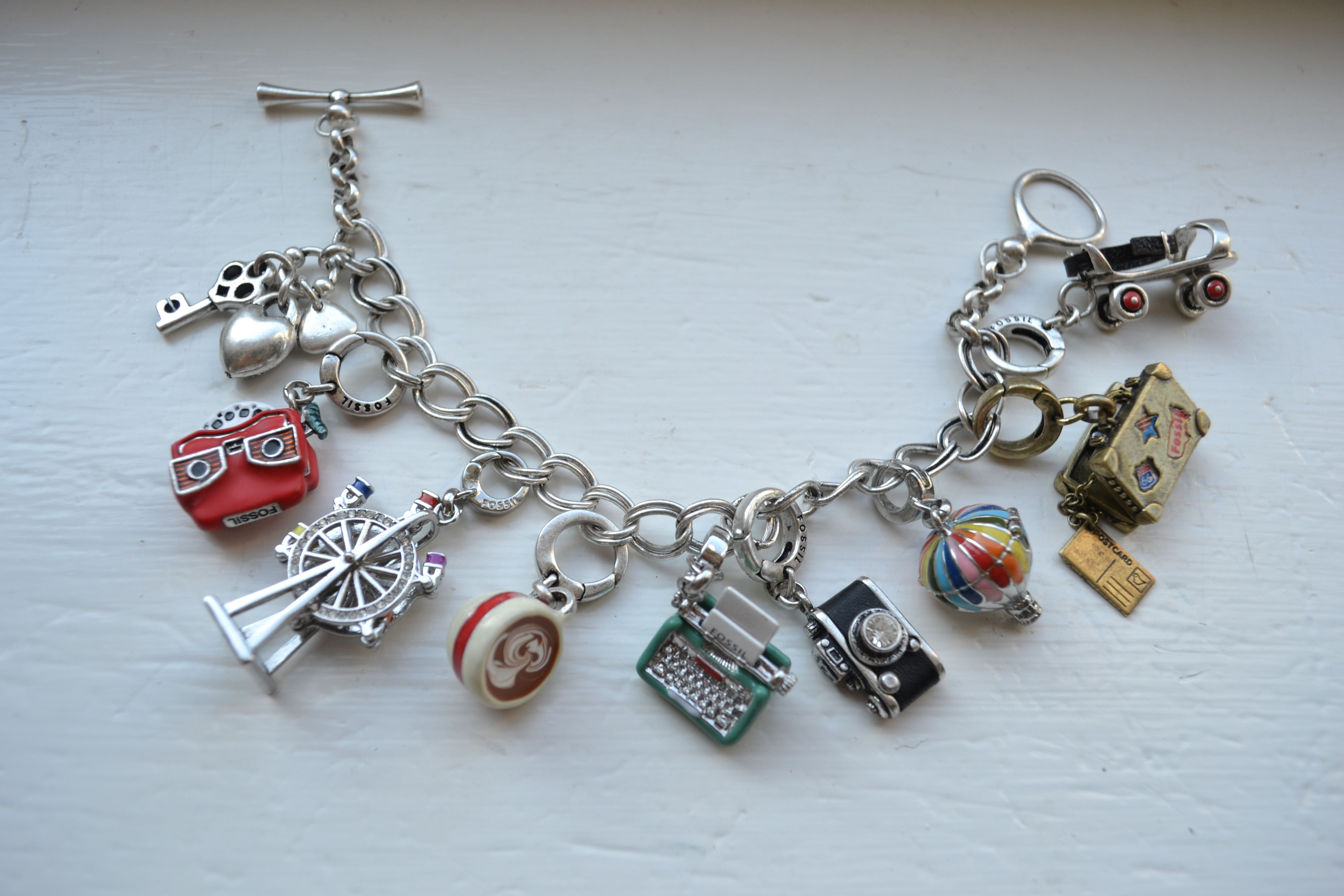 ee47fd3d3 Vintage Fossil charm bracelet | Things I like in 2019 | Charm ...