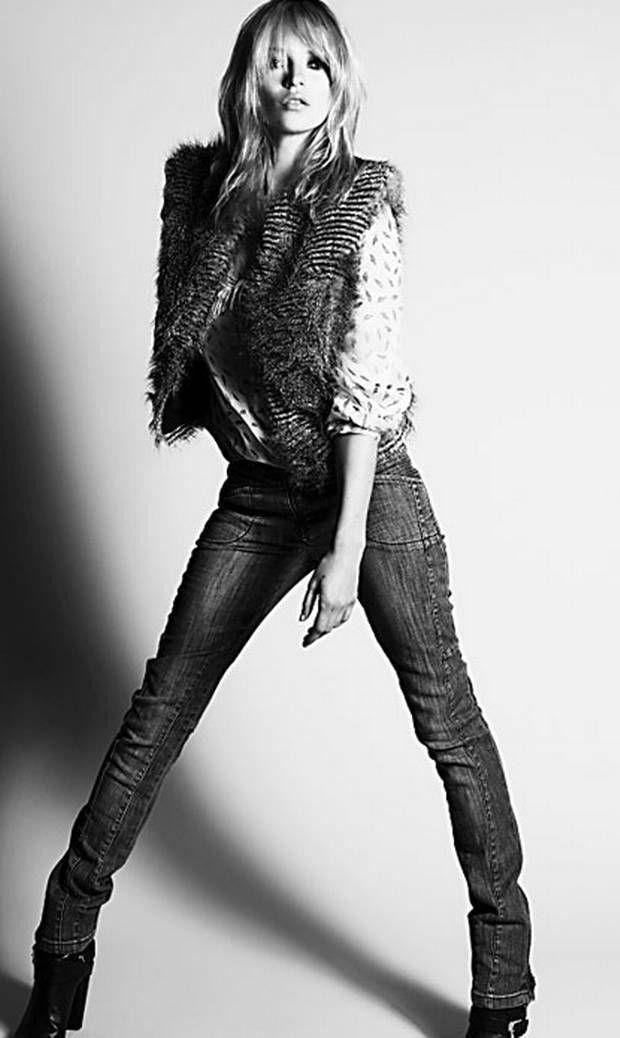Rocking: faux fur gilet, £50, feather blouse, £40, jeans, £45 - London Evening Standard