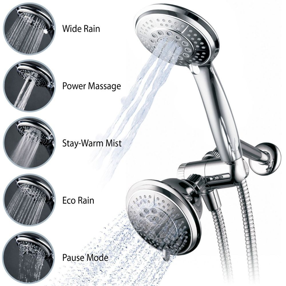 Shower Head Full Chrome Ultra Luxury Rain Massage Mist Pause Combo Patterns New Ebay With Images Best Handheld Shower Head Handheld Shower Head Hand Held Shower