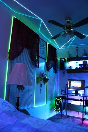 Avery Would Love This With His Tron Themed Room Art - Neon lights for bedroom