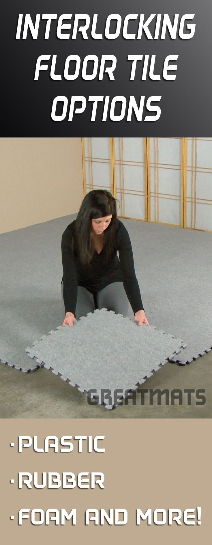 Greatmats has one of the largest selections of interlocking floor find interlocking floor mats and interlocking floor tiles in rubber and foam material use interlocking tiles for floors in basements garages and gyms dailygadgetfo Images