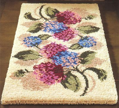 Everything included Round Triple rose rug Printed Canvas Latch Hook Rug Kit