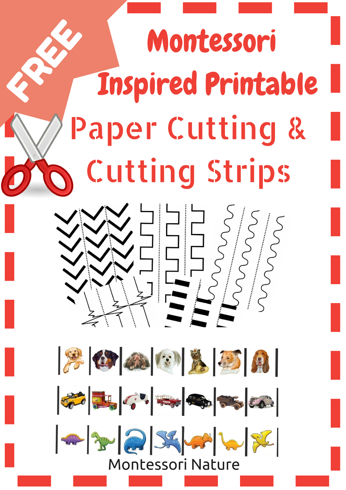Montessori Nature Montessori Printable Paper Cutting And Cutting Strips
