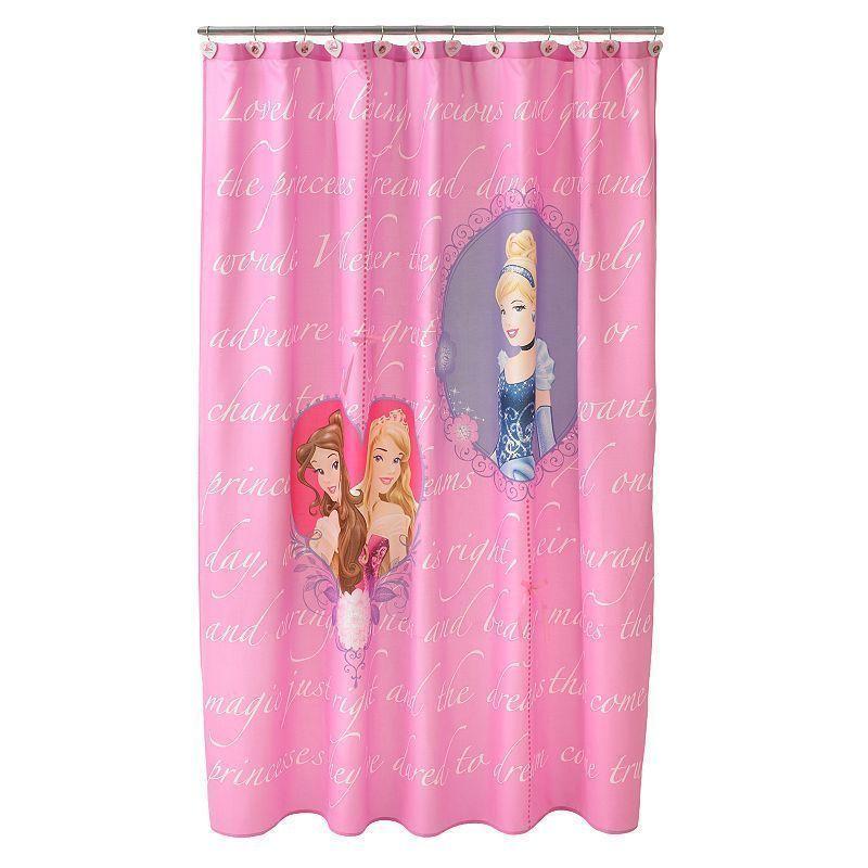 Disney Princess Microfiber Timeless Elegance Shower Curtain Pink