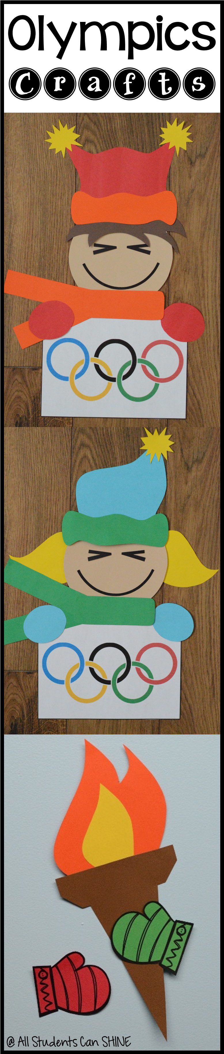 Olympics Crafts! I'm getting ready for my Olympics unit and these crafts are going to be perfect in our hallway :)