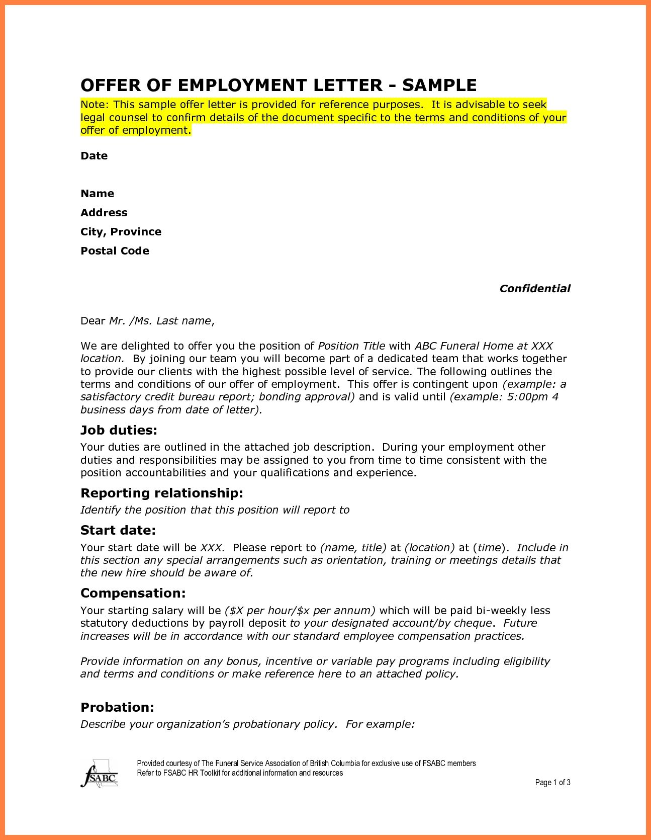 Employment Offer Letter Template Best Business Sample Marital
