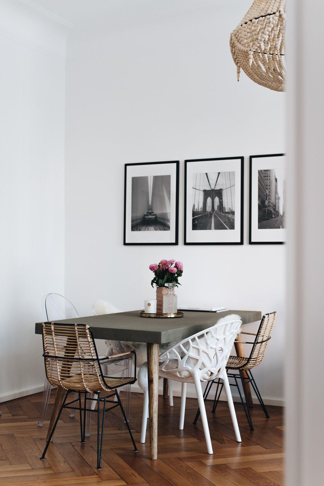 Unsere essecke mit betontisch stuhlmix esszimmer k che flur einrichtungsideen pinterest - Betontisch wohnzimmer ...