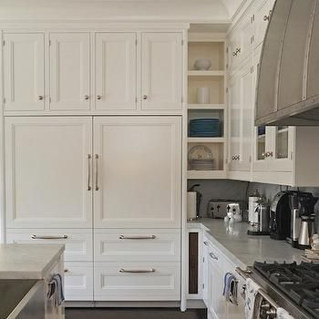 Wonderful Cabinets Over Refrigerator, Transitional, Kitchen, Bakes And Company White  Integrated Custom Panel Refrigerator