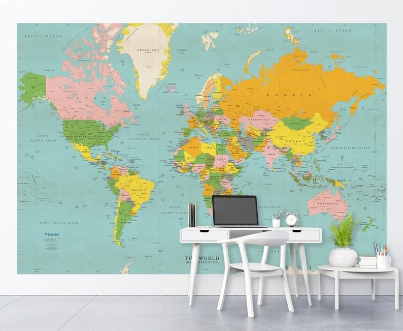 Classic Colors World Political Map Wall Mural Vintage Style Etsy Map Wall Mural Map Murals Map Wallpaper