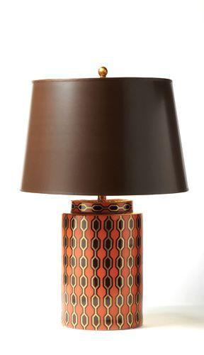 Designer Kelly Hoppen Porcelain Lamp Red Brown Brown Lamps Lamp Table Lamp Lighting