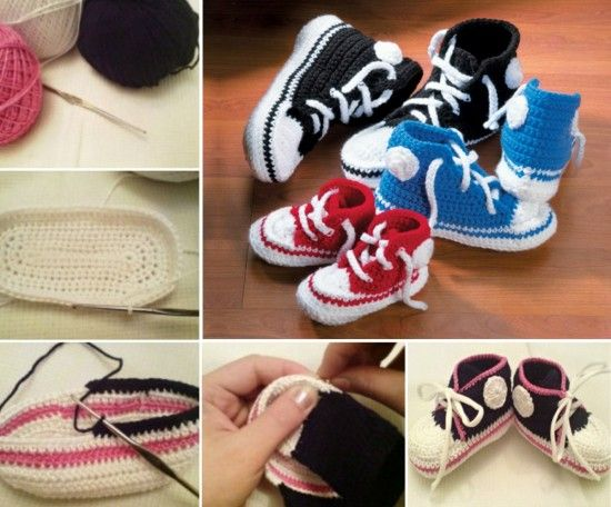 Knitting Shoes Tutorial : Crochet converse baby booties pattern free video tutorial